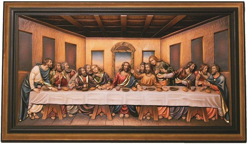 letzte abendmahl bild relief holz jesus christus. Black Bedroom Furniture Sets. Home Design Ideas